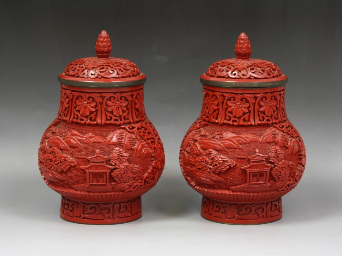 22: A Pair Of Chinese Carved Cinnabar Lacquer Vases
