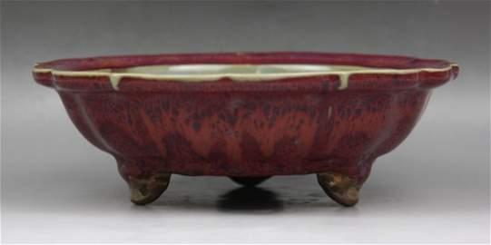 159: A Rare Junyao Tripod Narcissus Bowl