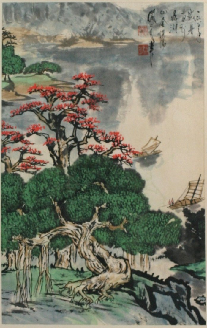 412: A Painting Hanging Scroll By Guan, Shanyue