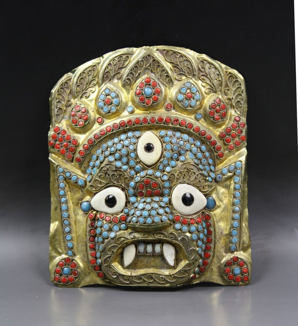 15: A Jeweled Tibetan Brass Mask