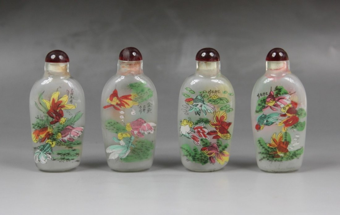 22: Group Of Four Inside Painted Glass Snuff Bottles