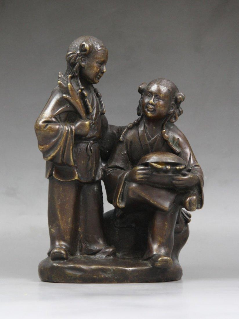 20: Antique Chinese Bronze Statue Of 'He He Er Xian'