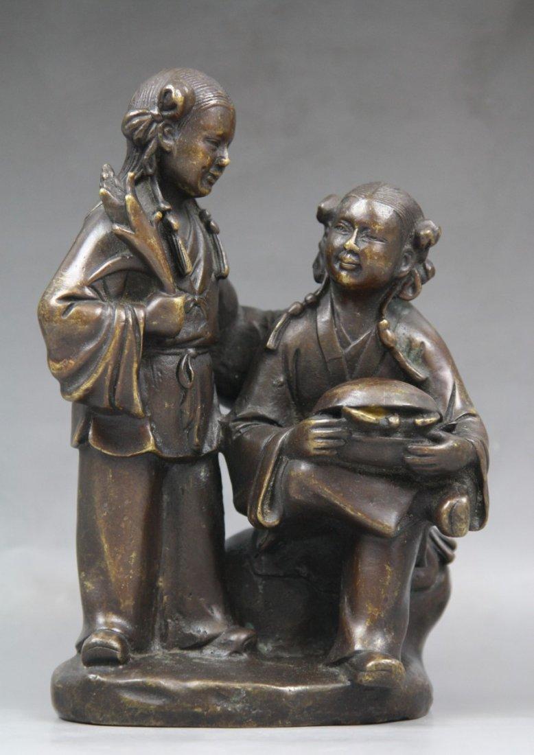 20: Antique Chinese Bronze Statue Of 'He He Er Xian' - 3