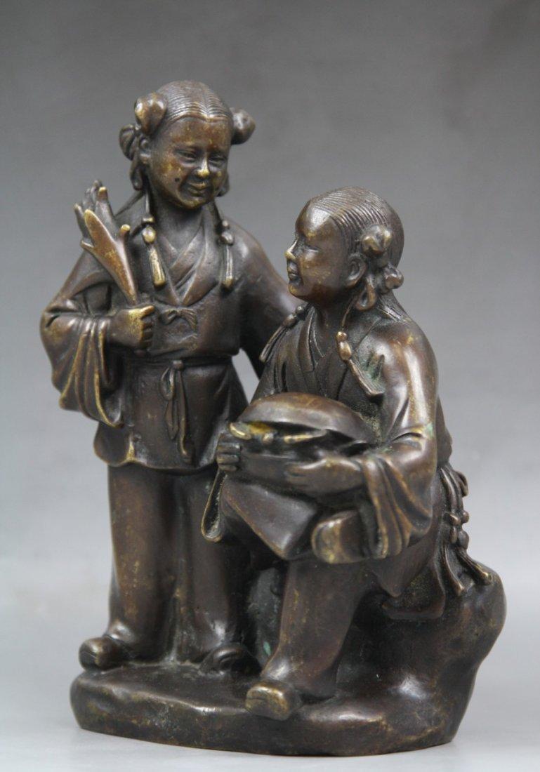 20: Antique Chinese Bronze Statue Of 'He He Er Xian' - 4