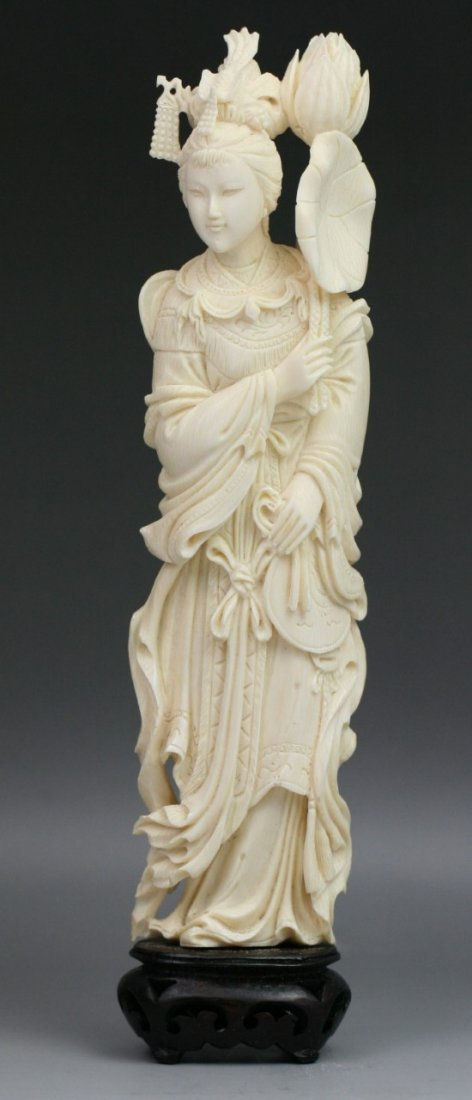 229: Chinese Carved Ivory Statue: Beauty