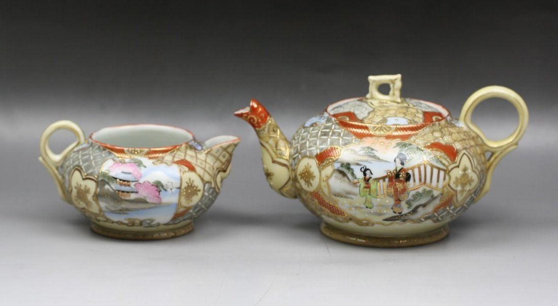 2: Two Japanese Antique Kutani Teapot and Tea Cup