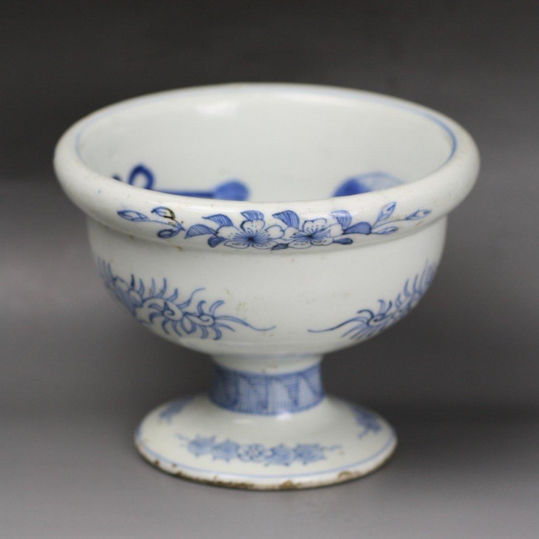 3: Japanese Antique Blue & White Stem Bowl