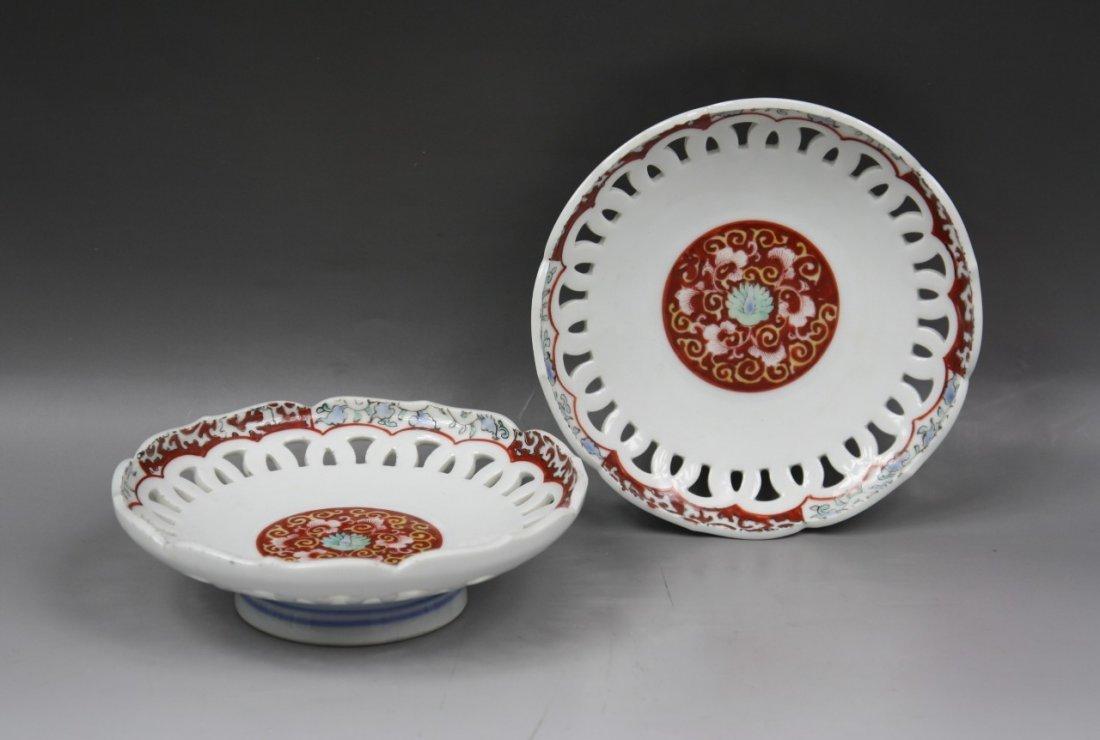 6: Pair Japanese Antique Imari Porcelain Plates