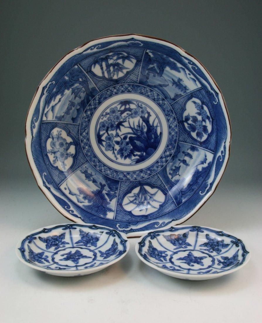 8: Japanese Kraak Arita B&W Porcelain Bowl & Plates