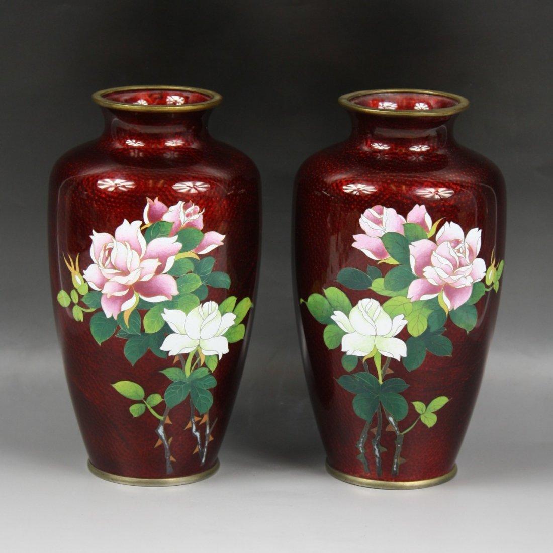 12: Pair Japanese Wireless Cloisonne Vases
