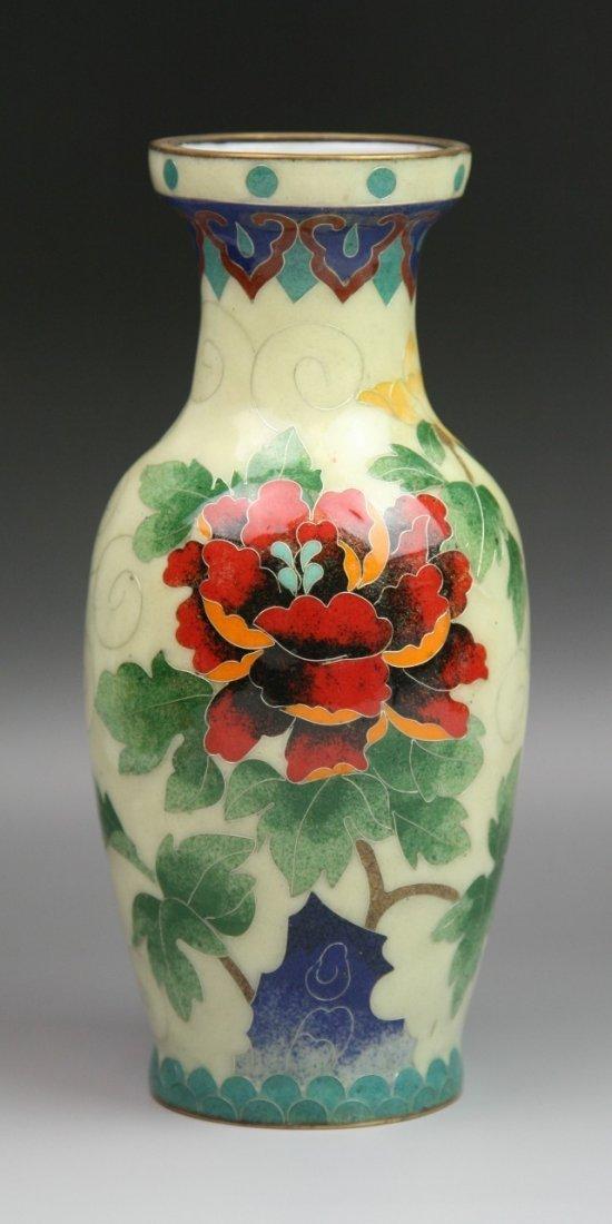 13: Japanese Silver Wire Cloisonne Vase