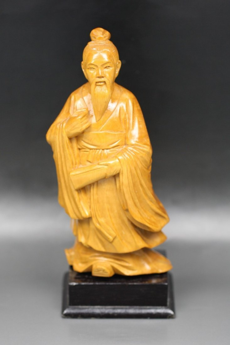 16: Chinese Antique Boxwood Carving Of Sage
