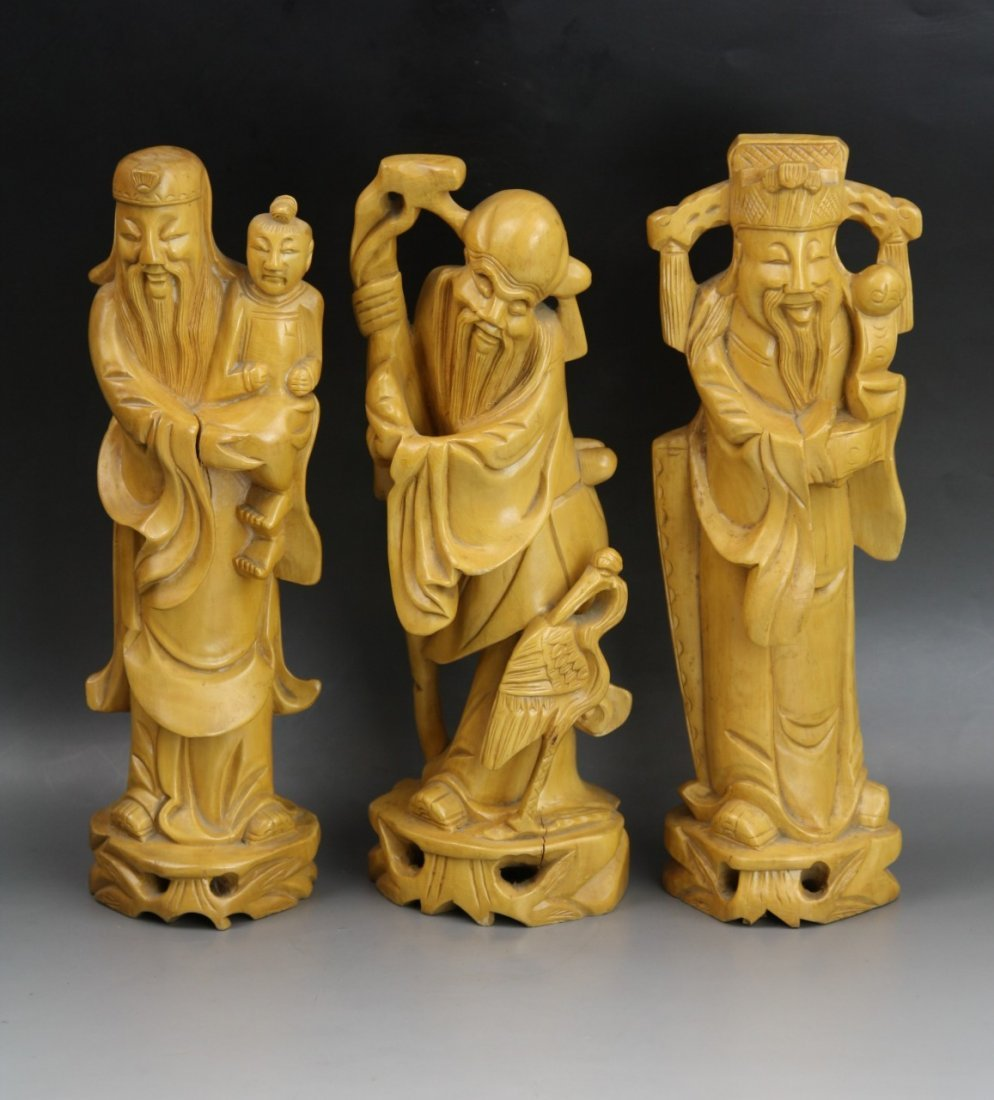 17: Chinese Antique Boxwood Carvings of 'Fu Lu Shou'