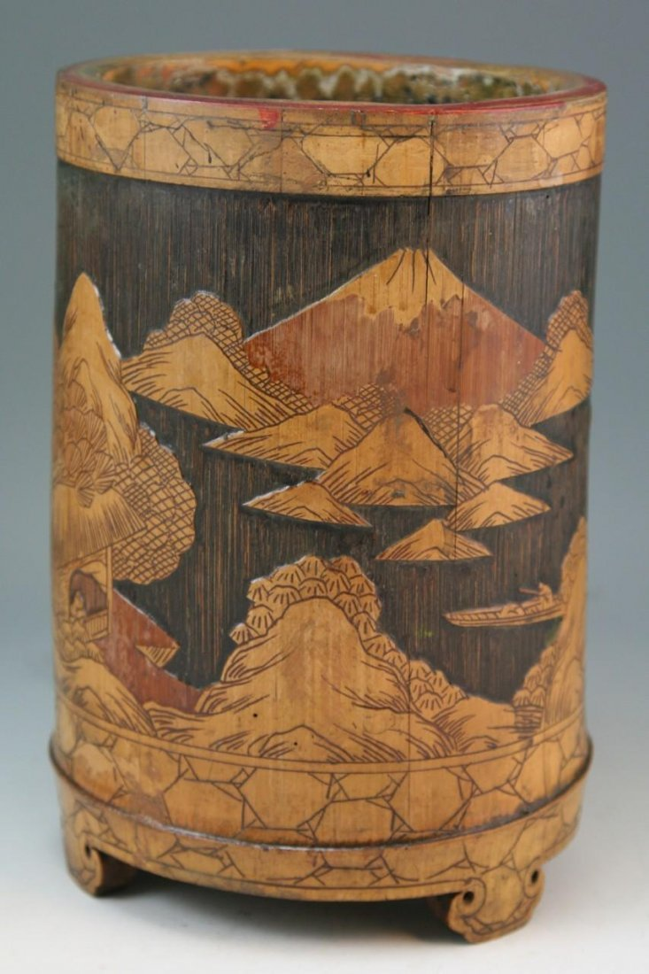19: Chinese Qing Dynasty Carved Bamboo Brushpot