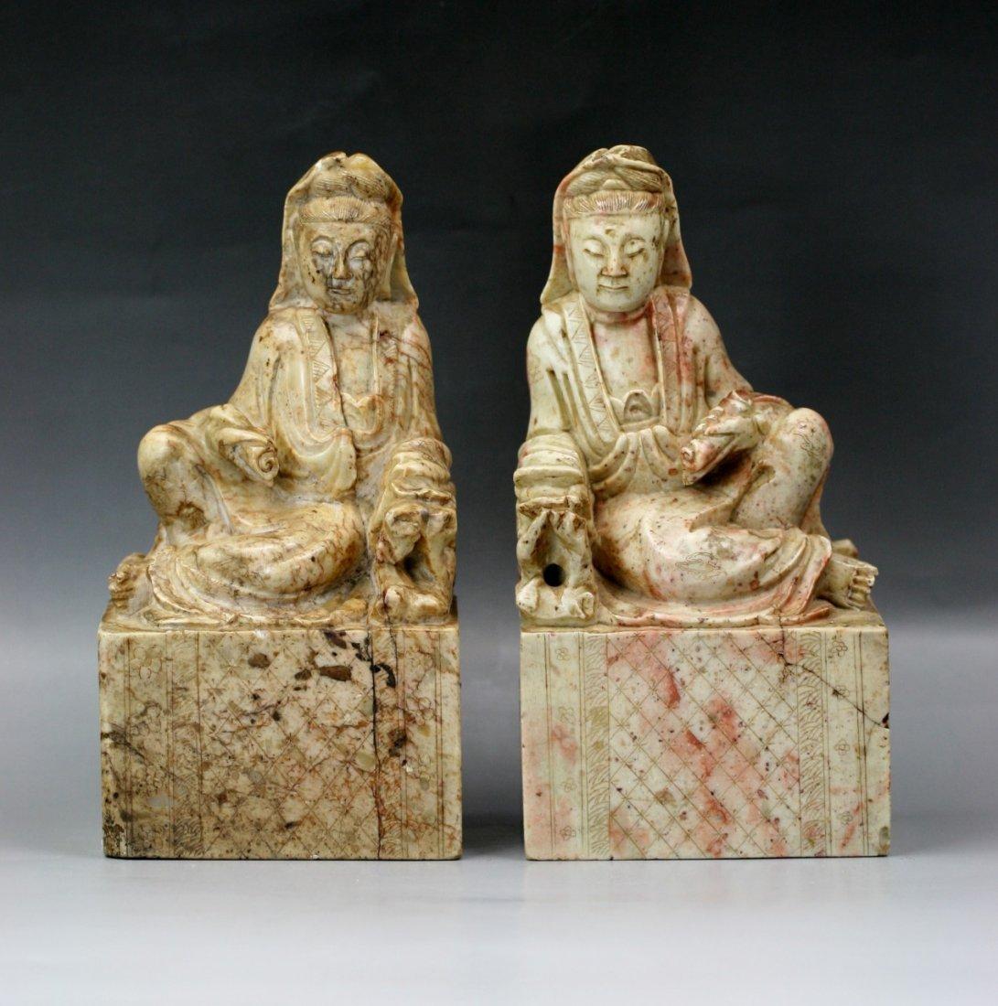 20: Pair Chinese Soapstone Buddhas