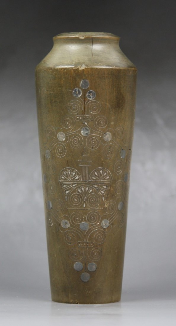 24: An Antique Inlaid Silver Wired Boxwood Vase