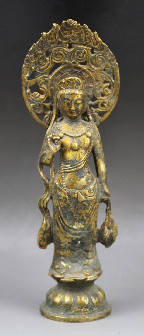 139: A Chinese Antique Gilt Bronze Buddha W Mandorla