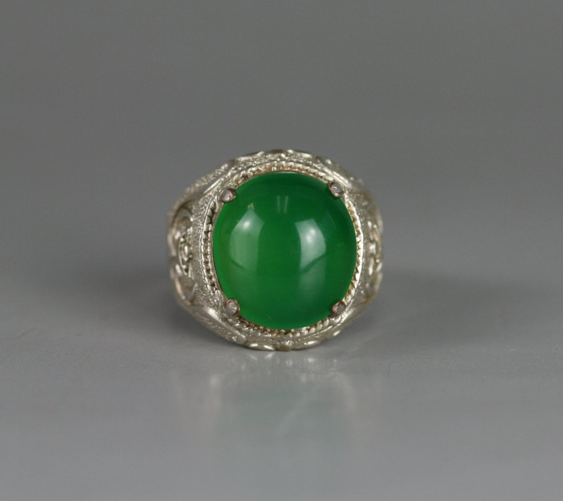 373: A Highly Translucent Green Jade Ring