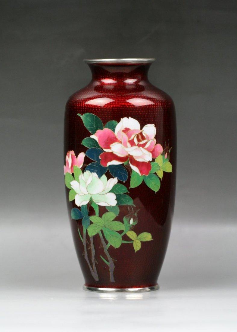 1: Japanese Pigeon-Blood Cloisonne Silver Vase