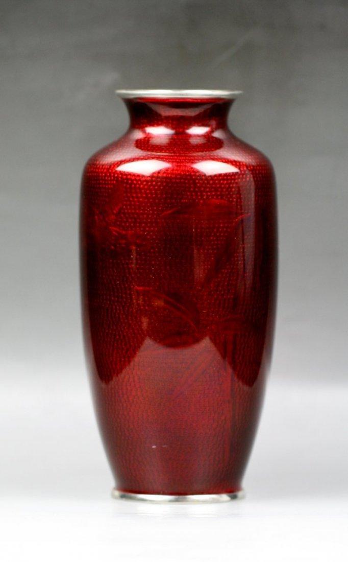 1: Japanese Pigeon-Blood Cloisonne Silver Vase - 2