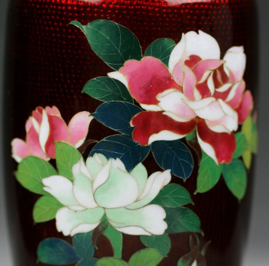 1: Japanese Pigeon-Blood Cloisonne Silver Vase - 3