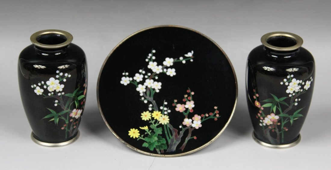 2: Set Of Three Japanese Silver Cloisonne Items