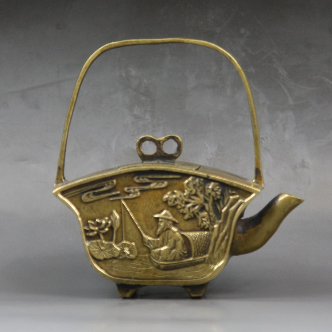 10: A Chinese Antique Brass Teapot