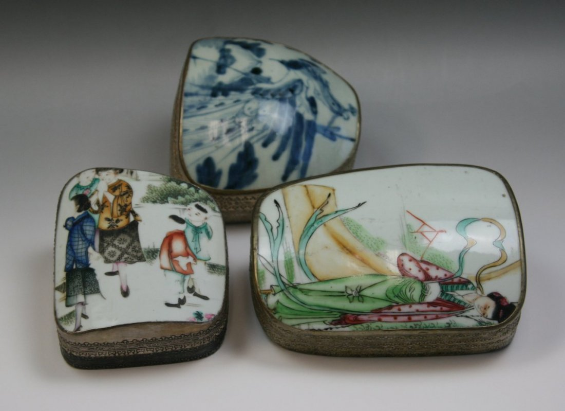 16: Group Three(3) Trinket Boxes With Porcelain Cover