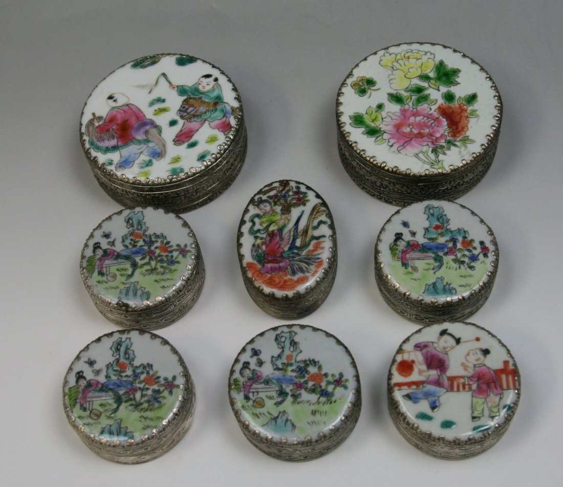17: Group Eight(8) Trinket Boxes With Porcelain Cover