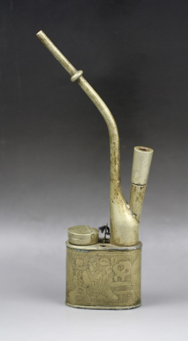 19 A Vintage Chinese White Brass Opium Pipe