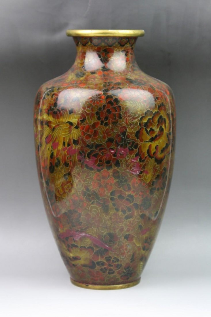21: A Big Chinese Antique Brass Cloisonne Vase