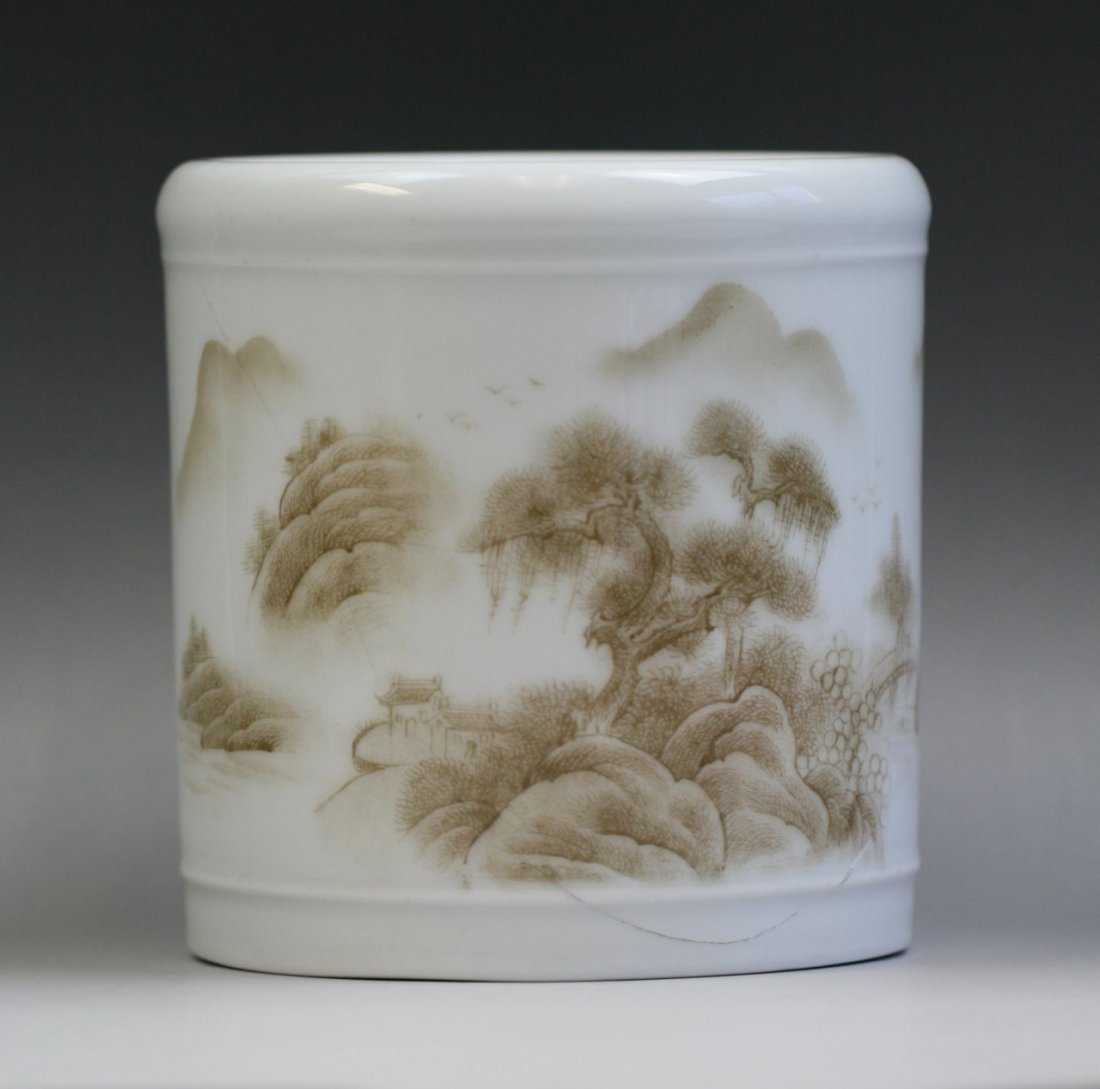 147: A Rare Cultural Revolution Grisaille Brushpot
