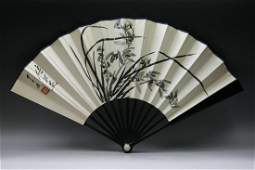 198: A Chinese Ink On Paper Fan with Zitan Frame
