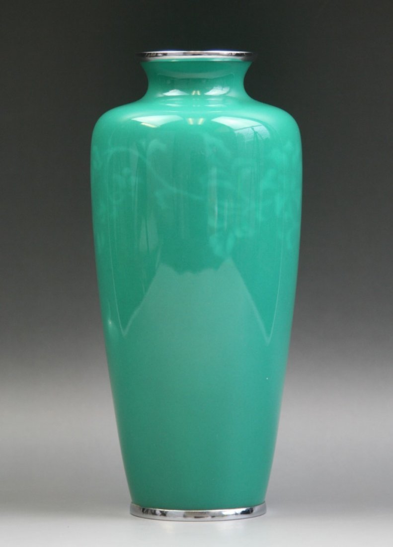 A Japanese Turquoise Cloisonne Silver Vase