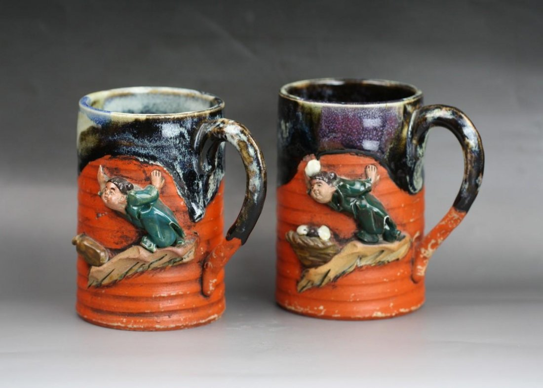 Two Japanese Antique Sumida Gawa Porcelain Cups