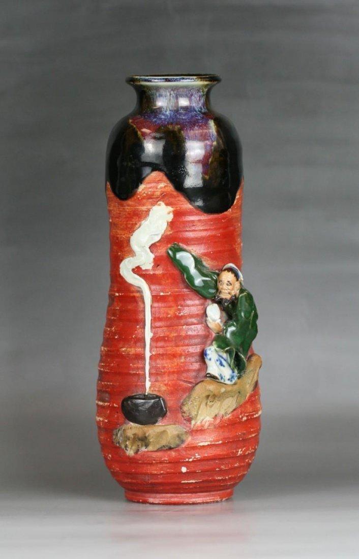 Antique Japanese Sumida Gawa Porcelain Vase