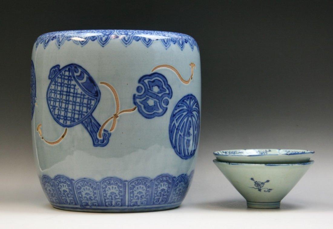 Three Japanese Antique Blue & White Porcelains