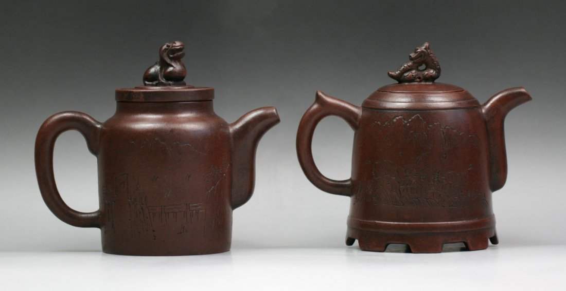 Two Chinese Engraved Zisha Teapots