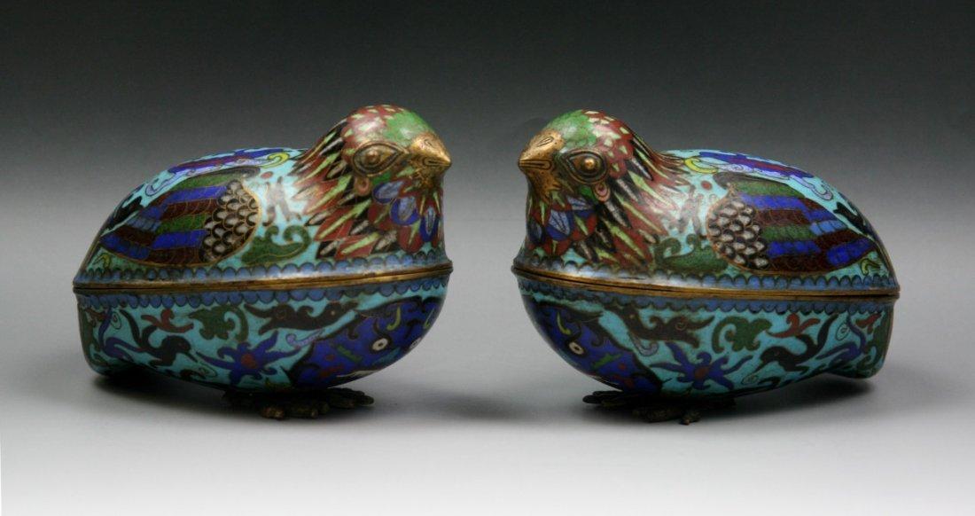 Pair Antique Chinese Bronze Cloisonne Quails