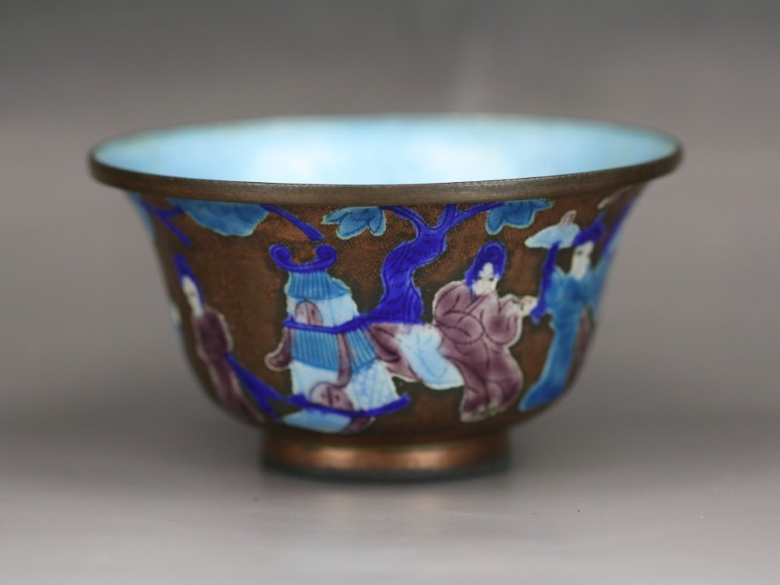 An Antique Chinese Cloisonne Silver Bowl