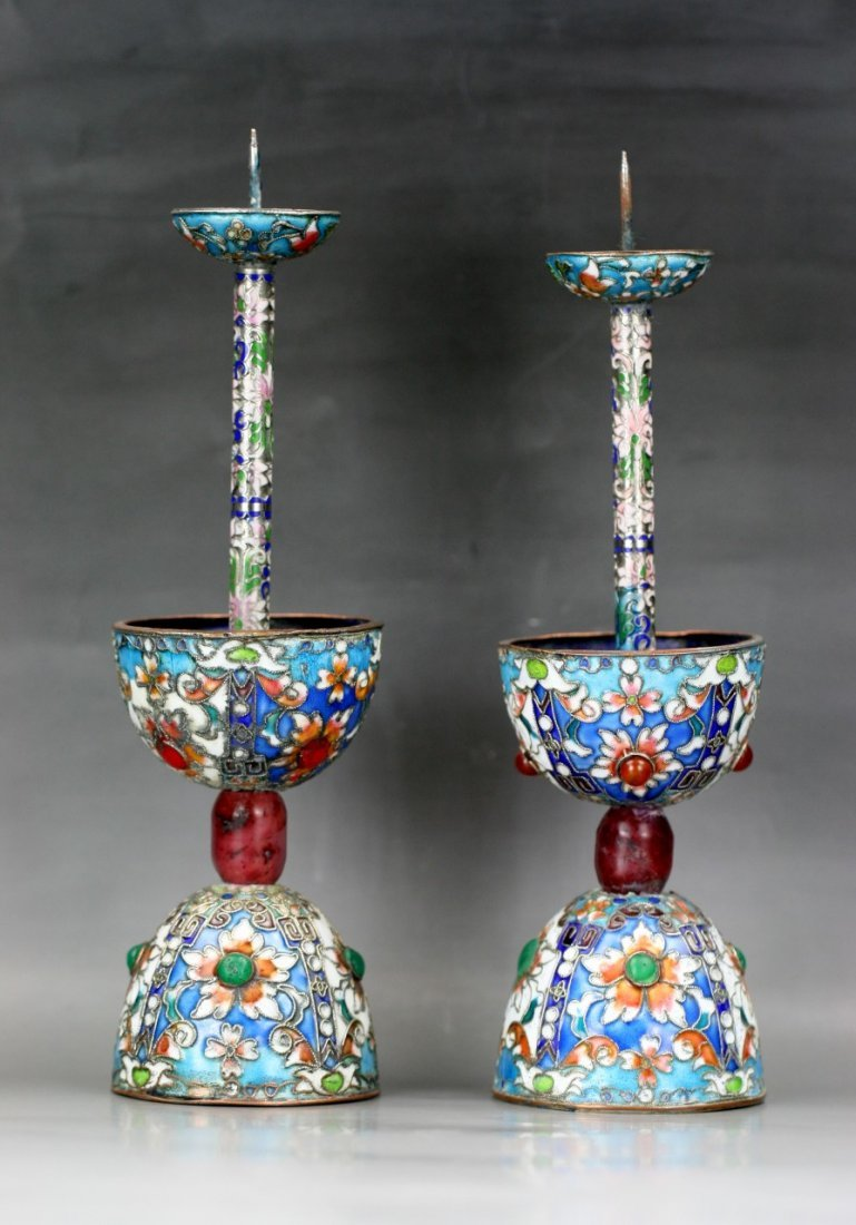 Pair Chinese Filigree Cloisonne Candle Holders