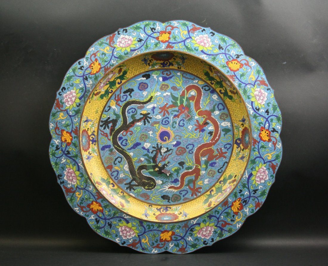 A Massive Chinese Antique Cloisonne Plate