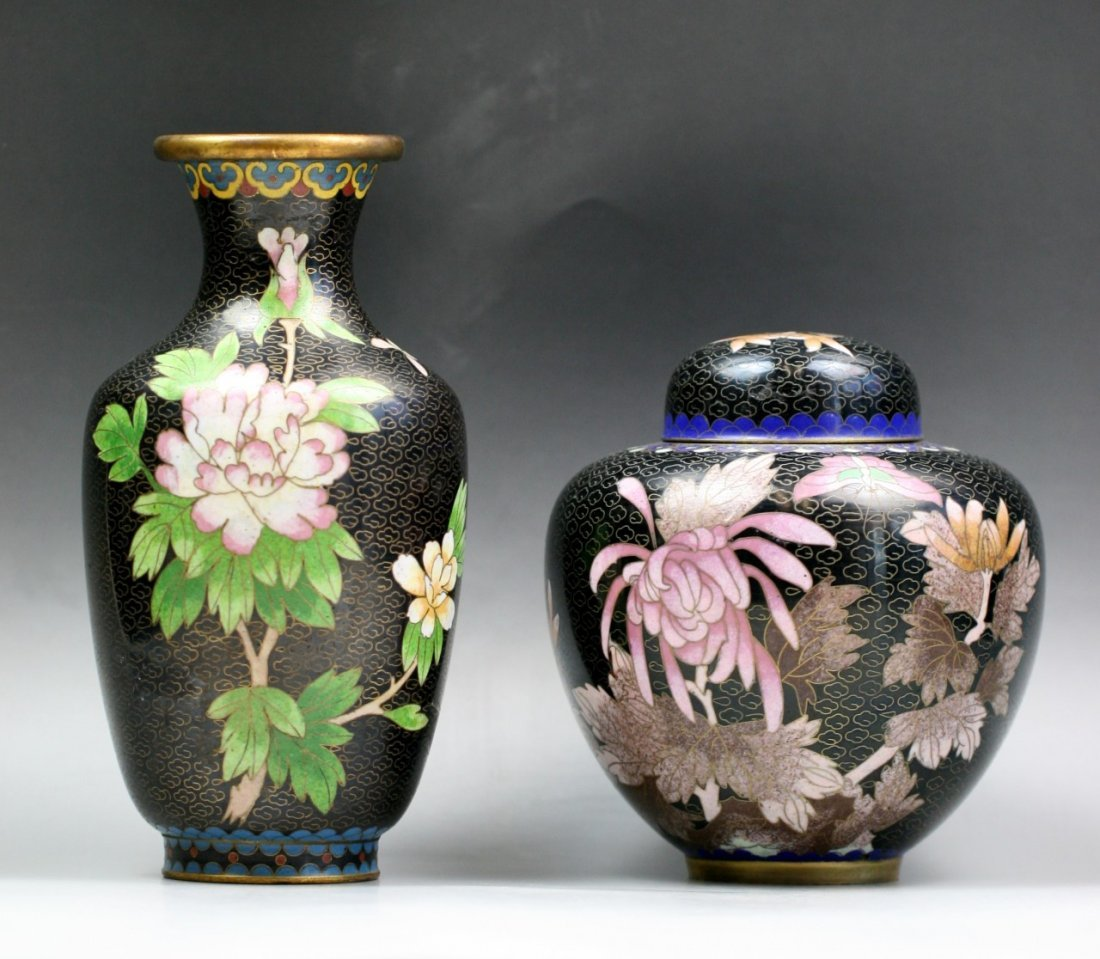 Two Chinese Antique Gilt Cloisonne Bronze Vases