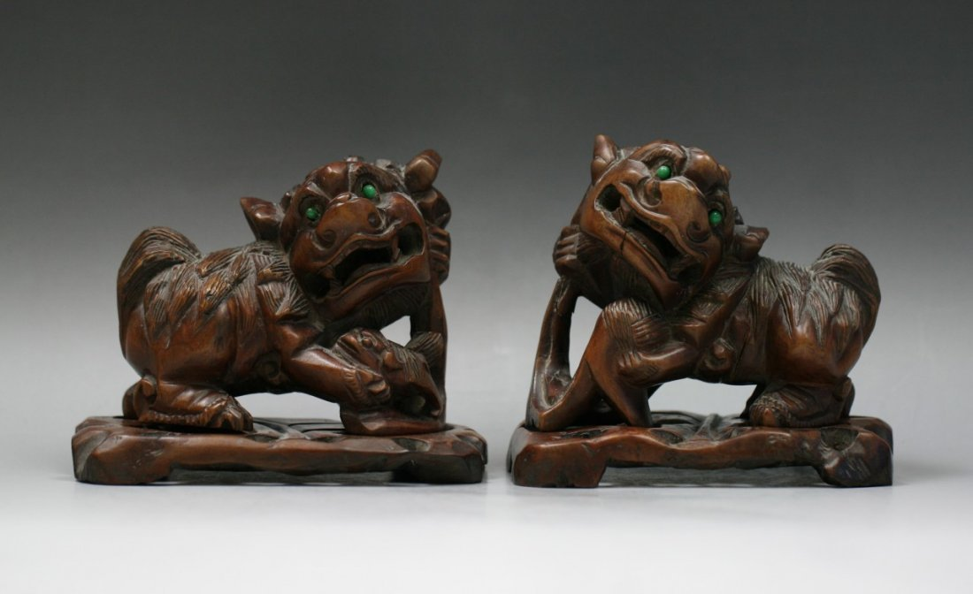 Pair Chinese Antique Jeweled Wood Lions