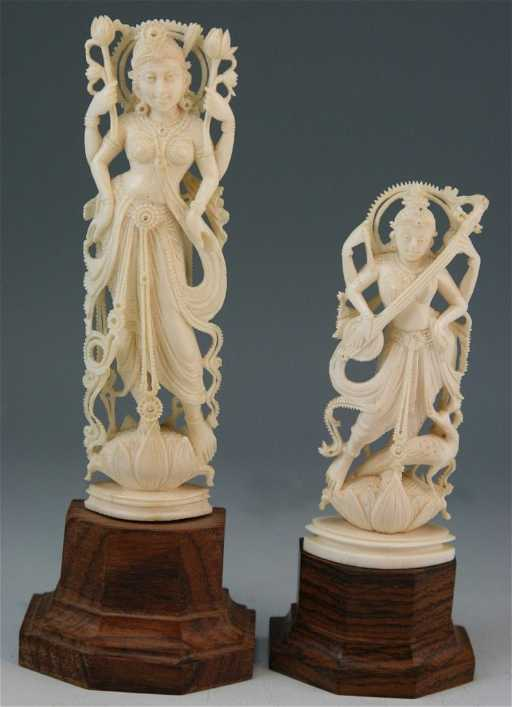Two Indian Antique Ivory Carvings