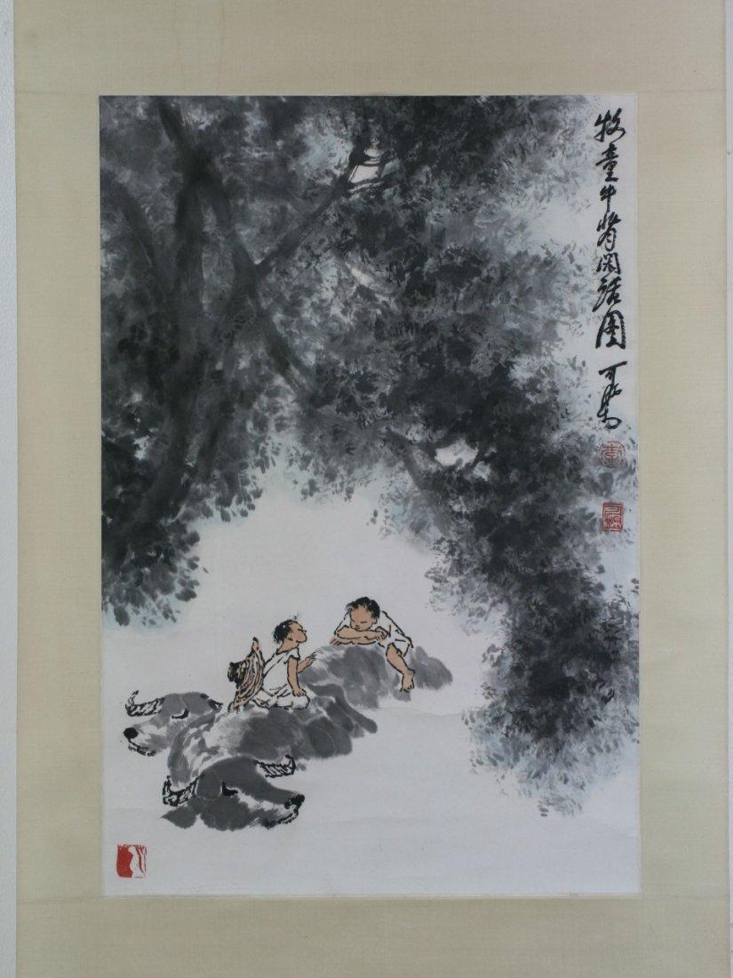 A Fine Paper Hanging Scroll Painting By Li Keran