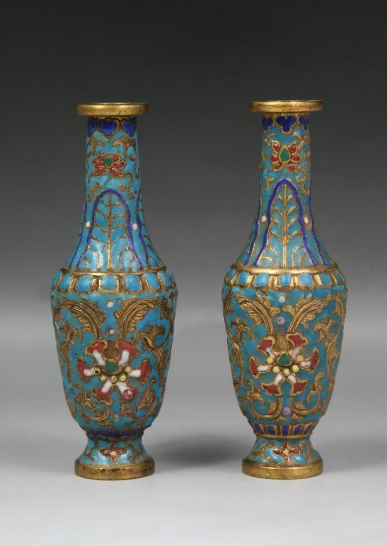 A Pair Jewelled Gilt Cloisonne Enamel Vases