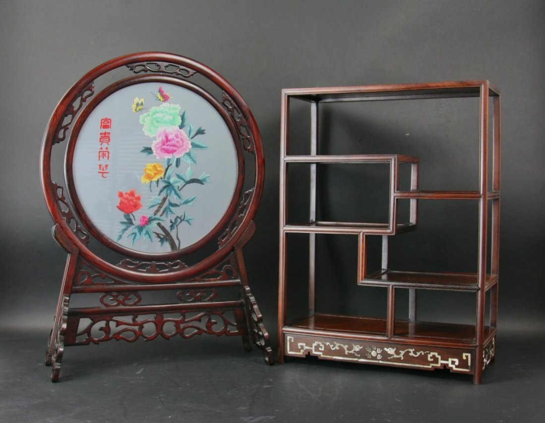 Two(2) Chinese Antique Wood Screen And Stand