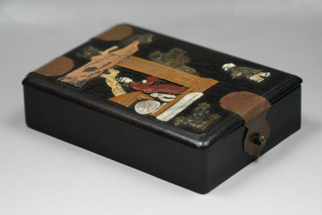 A Chinese Antique Hardwood Applique Box