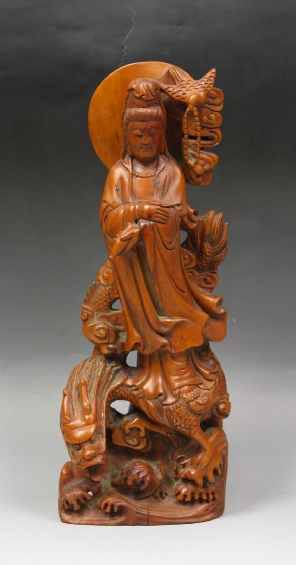 A Rare And Massive Chinese Antique Boxwood Guanyin